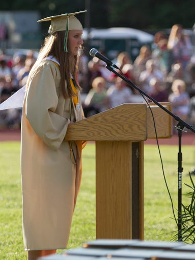 Brick Memorial Salutatorian Katherine Geddes Mischin addresses the audience at the 2014 Brick Memorial High School Graduation on June 20, 2013 in Brick NJ.    Peter Ackerman / Staff Photographer