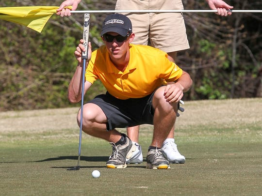 Jake Miller, one of the top men's golfers at Anderson University, practices at Cobbs Glen Country Club in Anderson.