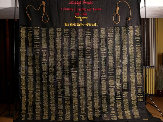 Strange Fruit, a 10' x 10' quilt lists names of African