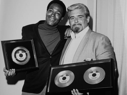 """Barney Ales with Marvin Gaye and the commemorative gold discs for """"I Heard It Through The Grapevine."""" Courtesy of Barney Ales"""