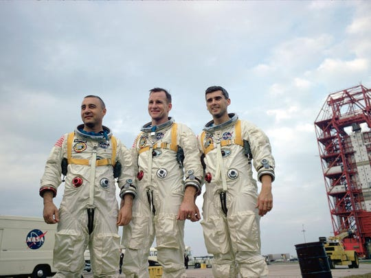 January 1967. The prime crew of the National Aeronautics and Space Administration's (NASA) first manned Apollo Space Flight, named on March 21, 1966, are pictured during training in Florida. Left to right are astronauts Virgil I. Grissom, Edward H. White II, and Roger B. Chaffee.
