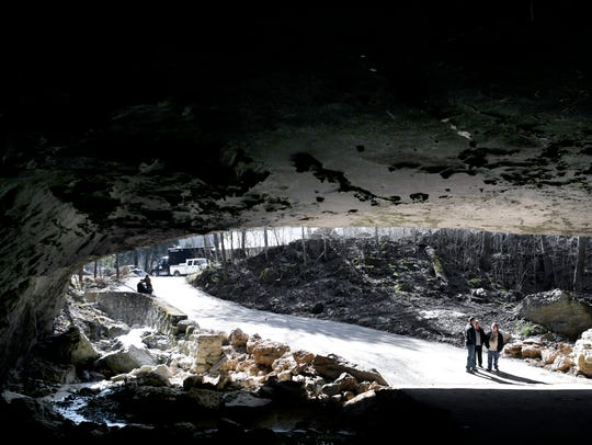 A view of the mouth of a cave at The Caverns, the new