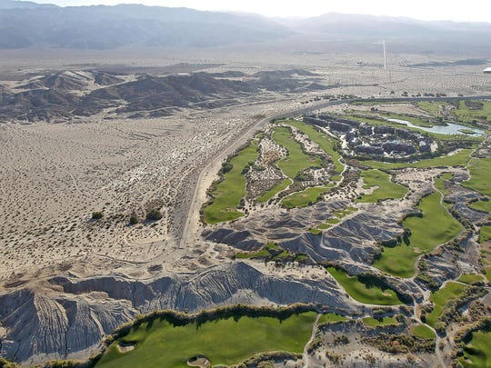 Across the Coachella Valley, lush golf courses make for a striking contrast with the dry desert.