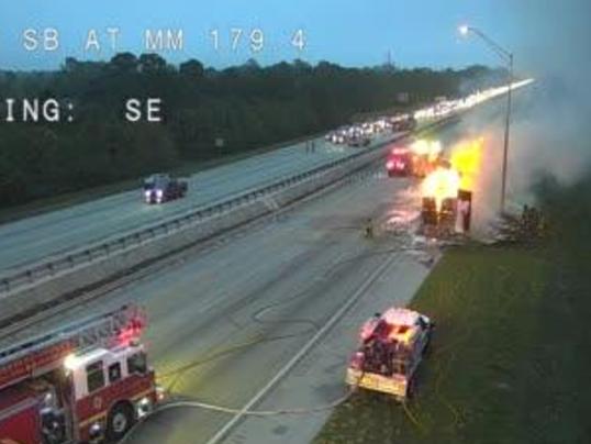 Semitrailer Fire Slows Traffic On I 95 In Brevard