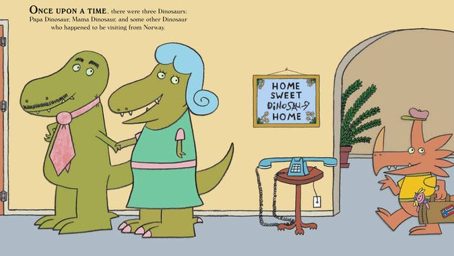 """Page from the book """"Goldilocks and the Three Dinosaurs"""" by Mo Willems"""