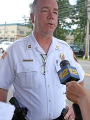 """Four people were transferred to the hospital... yes two of them were children but I do not know their ages,"" says Ramapo Police Captain Martin Reilly at the scene of a car accident on Route 59 in Monsey June 26, 2017."