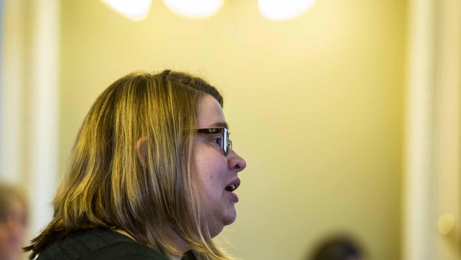 Department of Children and Families employee Kara Haynes testifies about DCF worker safety before the Joint Legislative Child Protection Oversight Committee at the Statehouse in Montpelier on Tuesday.