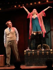 """UD grad Carl Pariso (Clifford Bradshaw), left, and Bailey McCall Thomas (Sally Bowles) in """"Cabaret,"""" running this week at the Playhouse."""