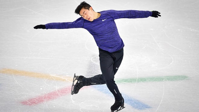 U.S. skater Nathan Chen practices at Gangneung Ice Arena ahead of the team event for the men figure skating before the Pyeongchang 2018 Winter Olympic Games on Feb. 7.