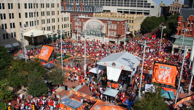 A roof top view of the live broadcast of ESPN College GameDay Saturday at Sundance Square in Fort Worth.