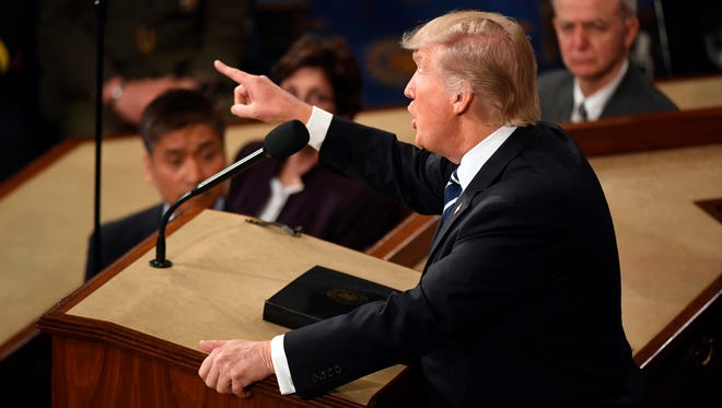 President Trump speaks before a joint session of Congress on Feb. 28, 2017.