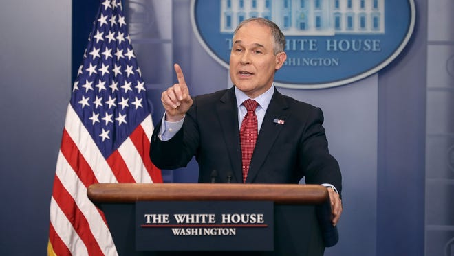 Environmental Protection Agency Administrator Scott Pruitt answers reporters' questions during a briefing at the White House on June 2, 2017.