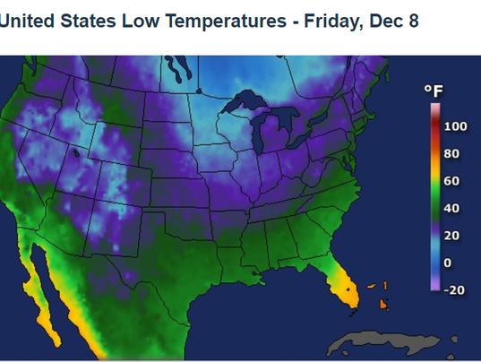 Low temperature map for Dec. 8