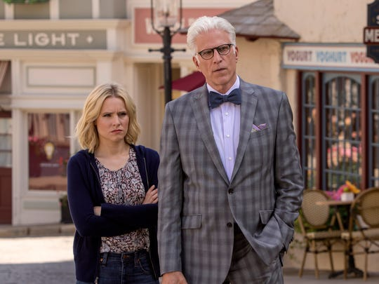 Kristen Bell as Eleanor and Ted Danson as Michael in NBC's 'The Good Place.'