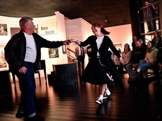 "FILE PHOTO: Malcom Price and Tracy Grogan dance at the Center for Contemporary Arts during ArtWalk on Feb. 8, 2018. The theme was  ""Abilene Bandstand."""