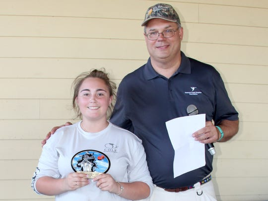 The top scoring lady Shooter was Emmy Zerby, here congratulated by Treasure Health VP of Philanthropy Murray Fournie.
