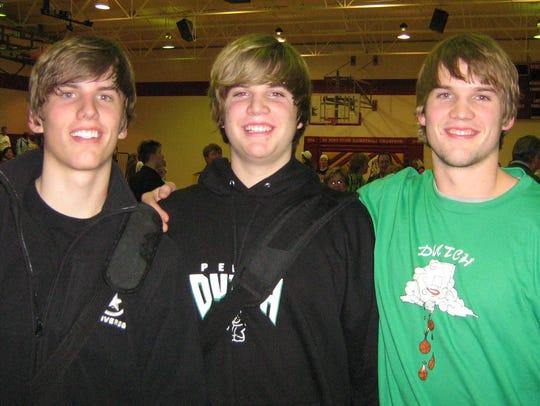 The Korver brothers in 2007, from left: Kaleb, Kirk
