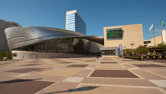 A view of the NASCAR Hall of Fame in downtown Charlotte.