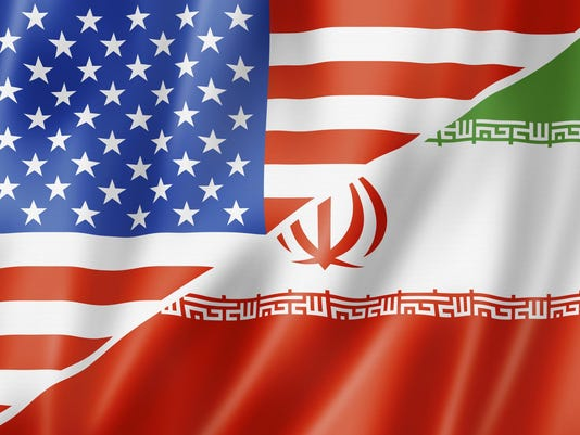 Iran US flags