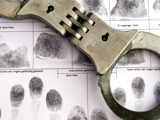 Indystar stock crime stock handcuffs fingerprint sheet