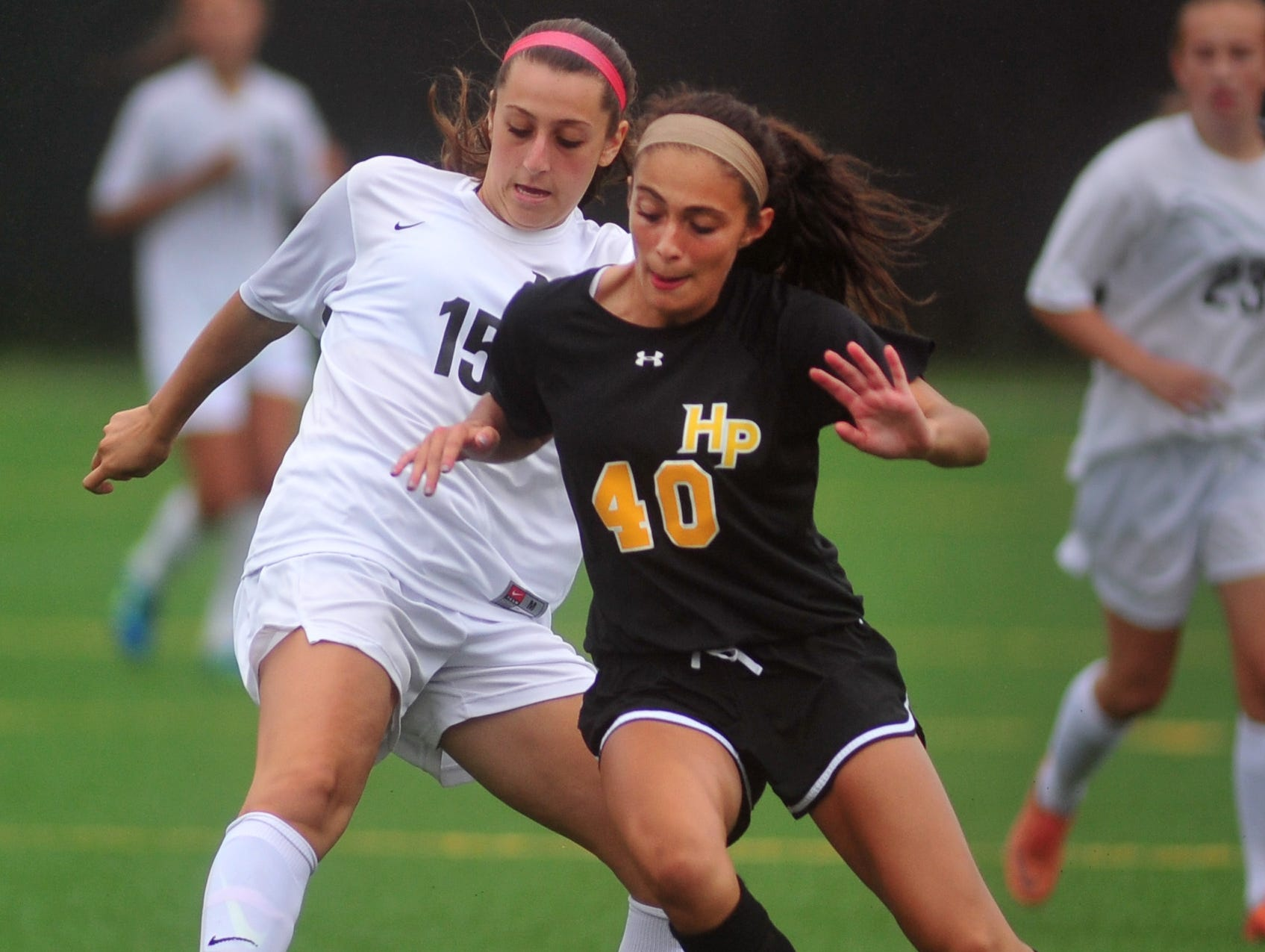 Morristown-Beard's Danielle Kabat gets a foot on the ball in a game against Hanover Park last September.
