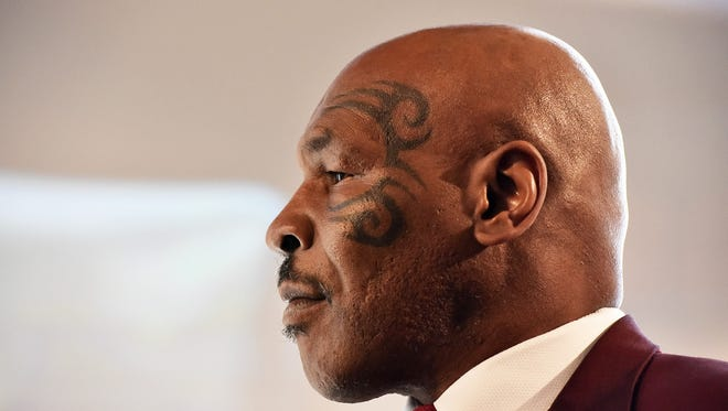 Former World Heavyweight Champion Mike Tyson speaks at the Prisoner Reentry Conference panel in Jersey City on Thursday.