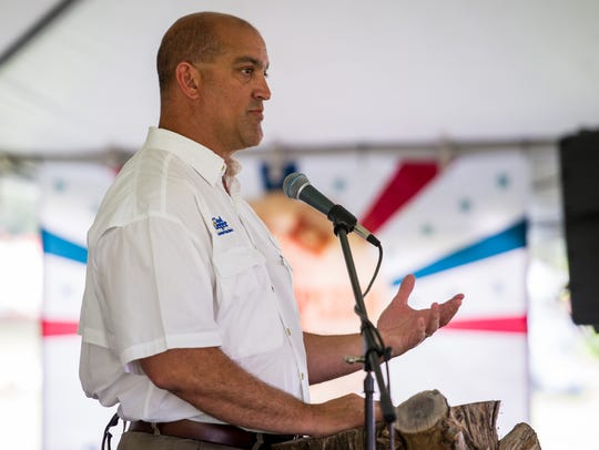 Scott Police Chief Chad Leger speaks at a September 2015 event.