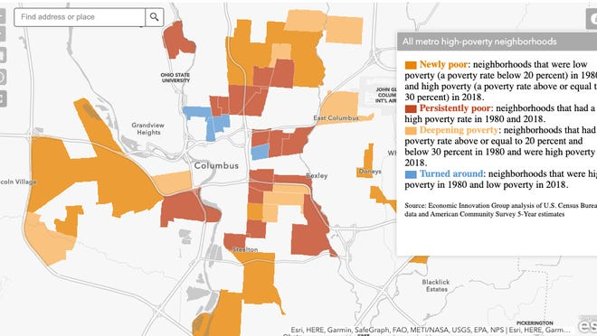 The map shows economic changes in Columbus neighborhoods from 1980 through 2018.