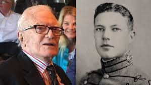 "Amb. Marion ""Joe"" Smoak at his 101st birthday, left, and as a cadet at The Citadel, right."