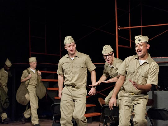 """Auggie Hernandez, right, Michael Seitz, Vernon Spence, Clinton Dodson and Raymond Cothran rehearse Visalia Players' production of """"Dogfight"""" at the Ice House Theatre on Monday, January 25, 2016."""