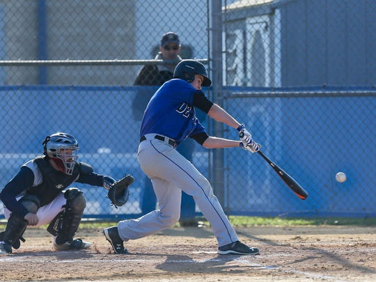 Hammonton's Matt Vaccarella hits safely during a 7-4 victory over GCIT on April 14.