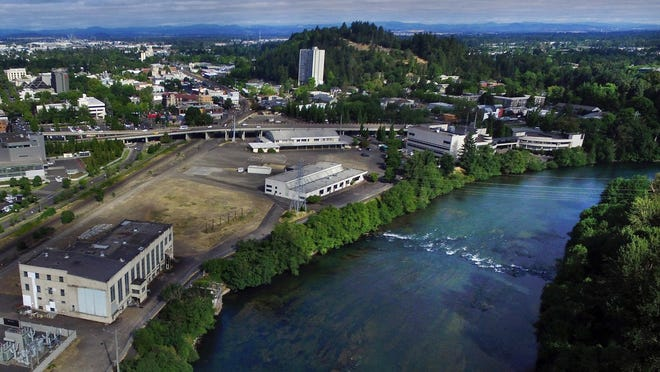 Eugene's downtown riverfront, shown here looking northwest toward the EWEB site, with the Willamette River at right.