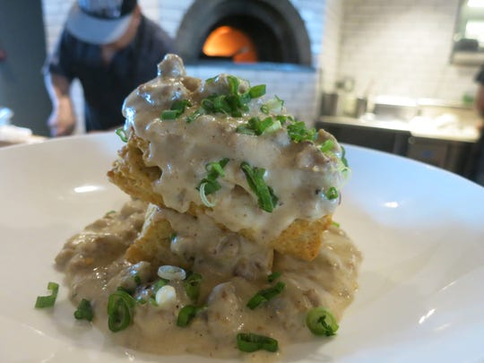 House-made biscuits and gravy with house-made breakfast
