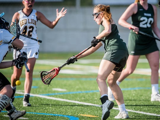 York Catholic's Jamie Mullen (5) scores on a low shot