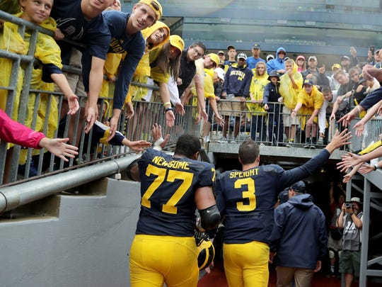 Michigan Wolverines offensive lineman #77 Grant Newsome