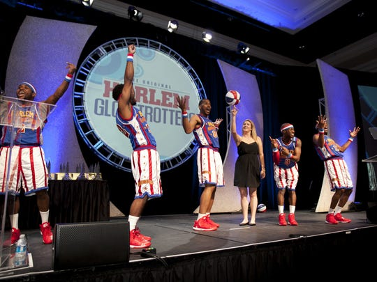 The world-famous Harlem Globetrotters entertain attendees at the 2015 LIMA Licensing Awards Show.