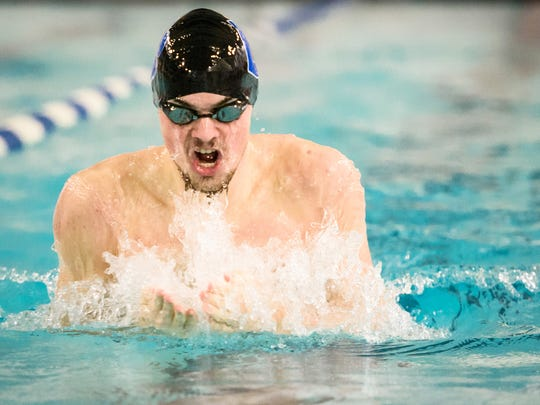 Dallastown's Logan Brockway swims breaststroke in the 200-yard IM during a dual meet against Central York earlier this month.