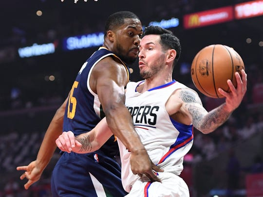 The Los Angeles Clippers' J.J. Redick gets a pass off