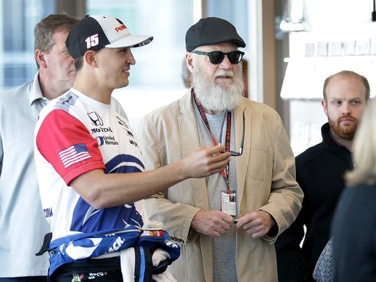 Rahal Letterman Lanigan Racing IndyCar driver Graham Rahal,left, walks with David Letterman as they arrive for a press conference Friday, May 12, 2017, at the Indianapolis Motor Speedway.