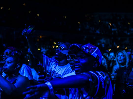 June 29, 2017 - Fans of 36-year-old Memphis rapper Yo Gotti dance while he performs during his annual Yo Gotti & Friends Birthday Bash at FedExForum on Thursday night. Special guests included Money Man, YFN Lucci, Meek Mill, Jeezy and Lil Wayne, MoneyBagg Yo, O.T. Genasis and T Grizzly.