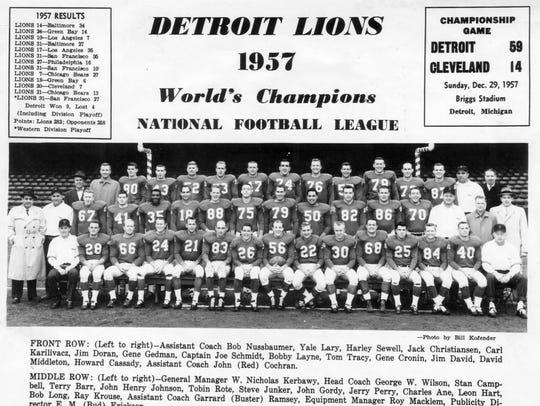 The 1957 World Champion Detroit Lions.