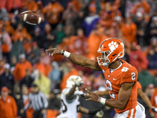 Clemson quarterback Kelly Bryant(2) throws a pass against Georgia Tech during the third quarter in Memorial Stadium at Clemson on Saturday.