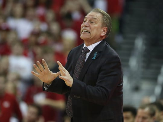 Michigan State coach Tom Izzo directs his team during the 68-63 win over Wisconsin on Sunday.
