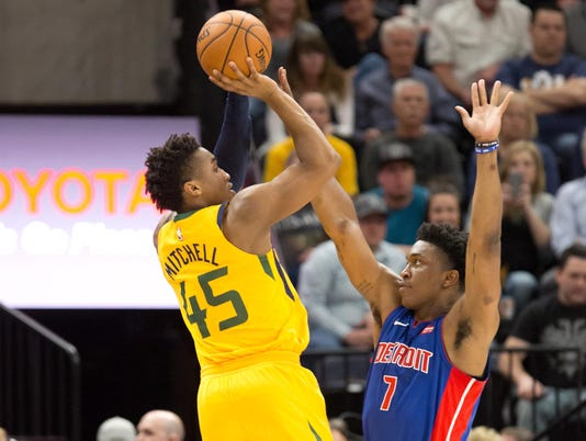 Donovan Mitchell, Stanley Johnson, Detroit Pistons at Utah Jazz