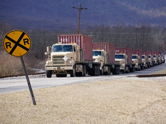 Trucks arrive at Letterkenny Munitions Center in March