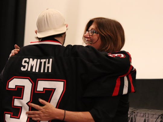 Kevin Smith is introduced by longtime friend Janet