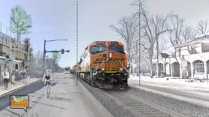 A train runs along Mason Street in downtown Fort Collins. Ideas are being sought to create a different vibe between Laurel and Mulberry.