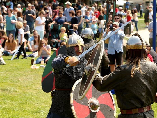 Shield fight demonstrations take place prior to the start of the Viking Fest Parade in Poulsbo, Washington on Saturday, May 19, 2018.