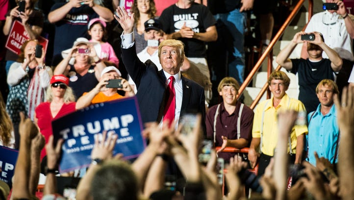 President Trump addresses the crowed during a rally