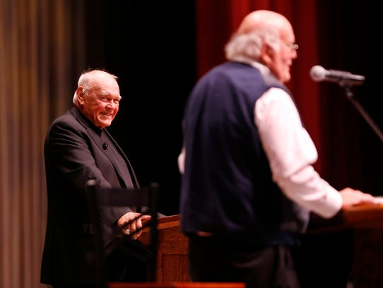 Former Purdue basketball coach Gene Keady laughs as